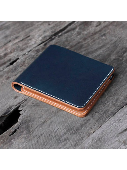 Blue and Tan Leather Mens  Compact Wallet with ID ...
