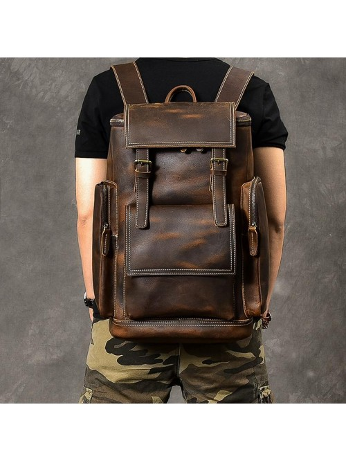 Leather Men Vintage Brown Backpack Laptop Backpack
