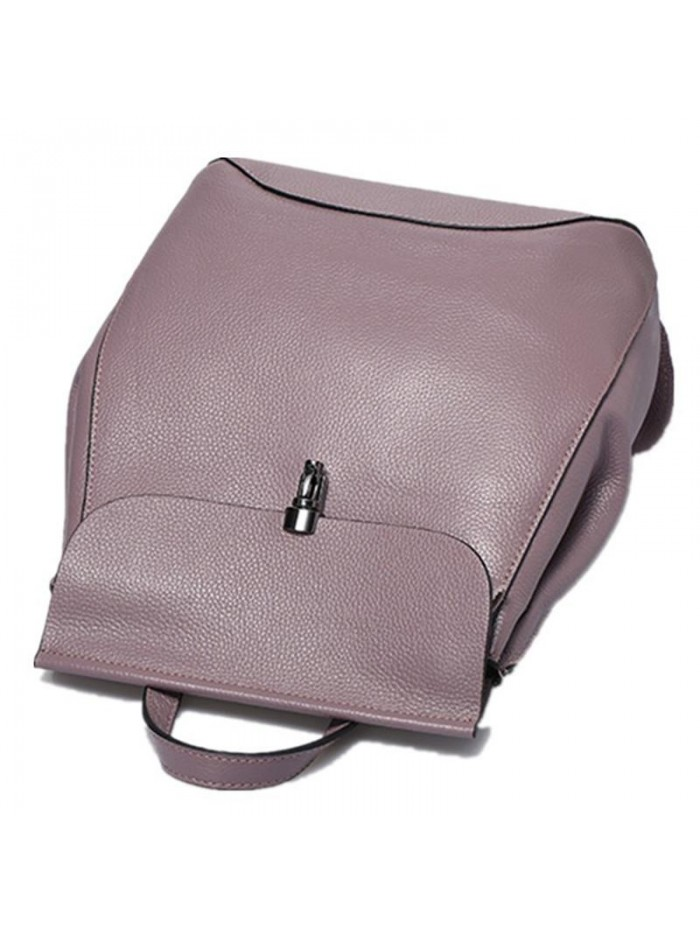 Multi-functional Women Purple Calf Leather Backpack