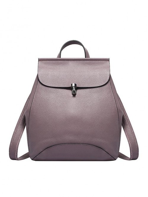 Multi-functional Women Purple Calf Leather Backpac...