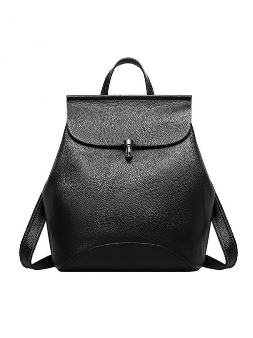 Multi-functional Women Black Calf Leather Backpack