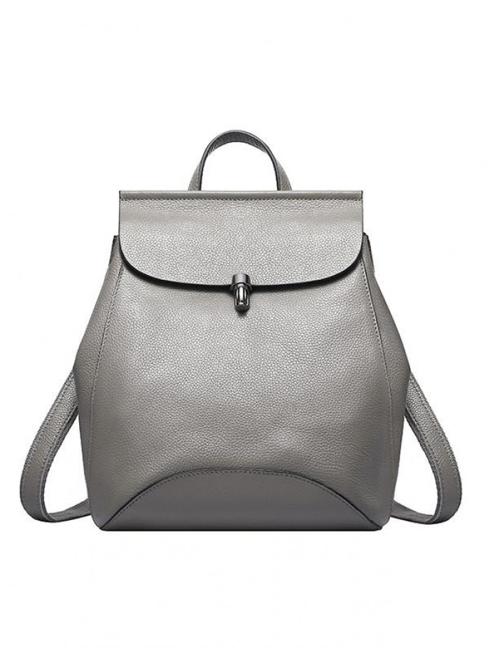 Multi-functional Women Gray Calf Leather Backpack