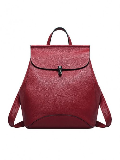 Multi-functional Women Wine Red Calf Leather Backp...