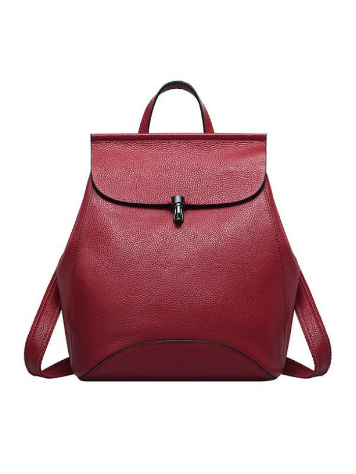 Multi-functional Women Wine Red Calf Leather Backpack