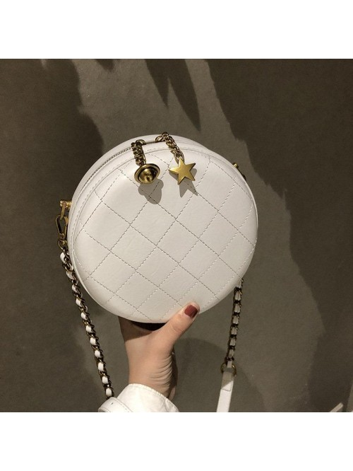 White Circle Bag Chain Strap Crossbody Bag