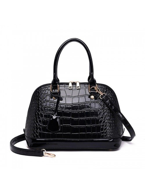 Black Crocodile Leather Shell Bag