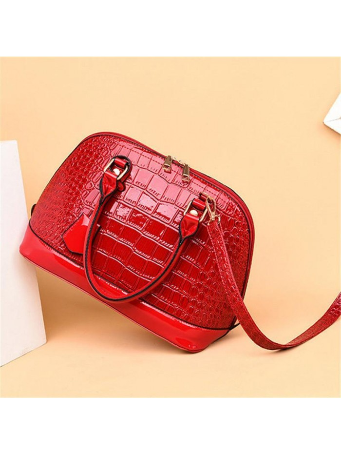 Red Crocodile Leather Shell Bag