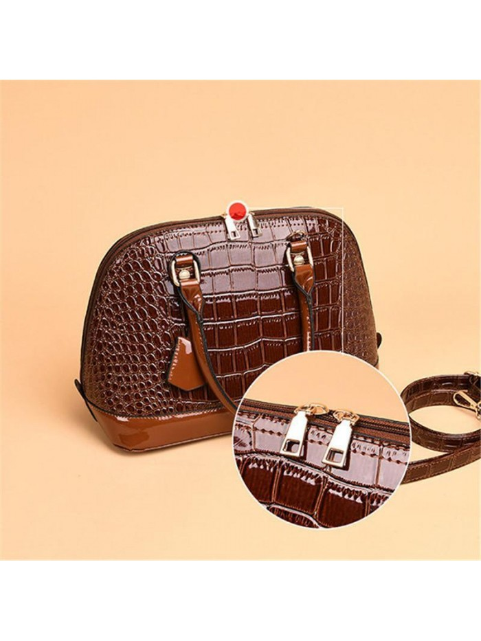 Brown Crocodile Leather Shell Bag